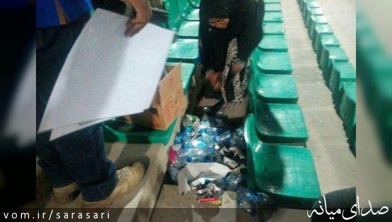 آشغال جمع کردن تایلندی ها در ورزشگاه دستگردی+تصویر