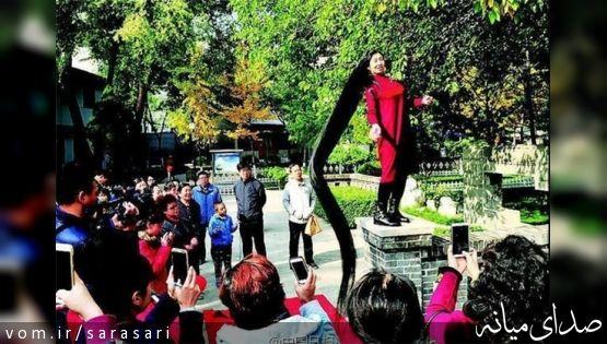 زن چینی، رکورددار بلندترین موی جهان +تصویر
