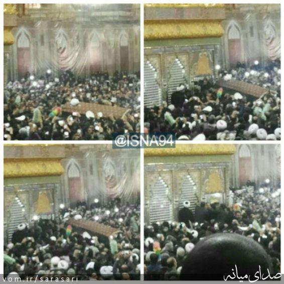 تصاویر ورود پیکر آیت الله هاشمی به داخل ضریح مطهر امام (ره)
