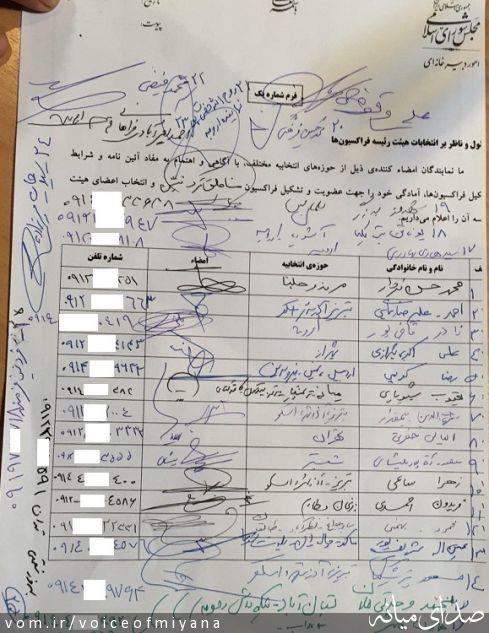 صورتجلسه تشکیل فراکسیون نمایندگان مناطق تورک نشین در مجلس با امضای نمایندگان