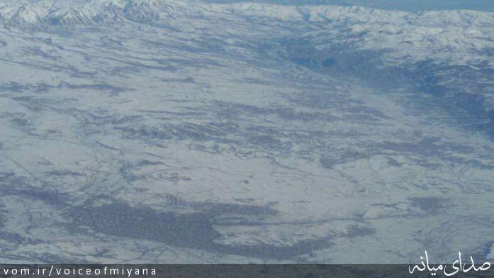 تصاویر 22 هزار پایی از شهرستان میانه با هواپیمای c130