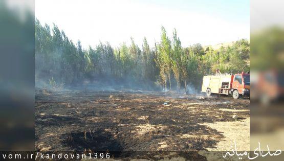 بخشدار کندوان: آتش سوزی در مزارع روستای ایشلق مهار شد