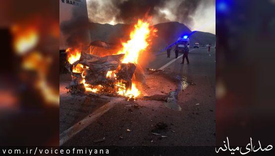 در نزدیکی روستای دادلو رخ داد ؛راننده پرشیا در آتش سوخت