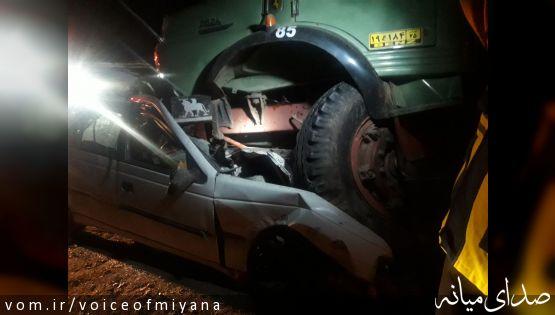 ۳ کشته حاصل تصادف بیل مکانیکی ،کامیون و آر.دی در محور ترک - میانه