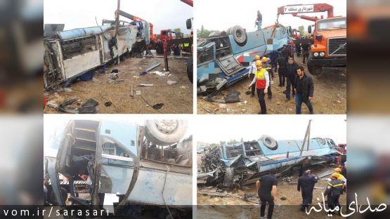 سه کشته و ۳۸مصدوم در حادثه واژگونی اتوبوس راهیان نور در محور بستان آباد - تبریز /تکمیلی