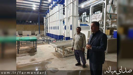 فرماندار ویژه میانه از روند اجرایی کارخانه برنج کوبی سفید دانه میانه بازدید نمود