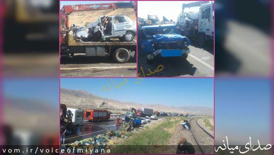 تصاویر تصادف منجر به فوت ۳ نفر در محور میانه-زنجان