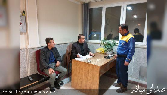 بازدید شبانه فرماندار ویژه شهرستان میانه از مرکز بهداشت، اورژانس و واحد امداد اداره گاز شهر ترک