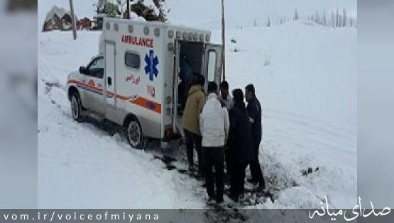 نجات جان مادر باردار گرفتار شده در برف شهرستان میانه