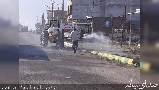 ضدعفونی معابر شهر آچاچی در جهت مقابله با شیوع ویروس کرونا