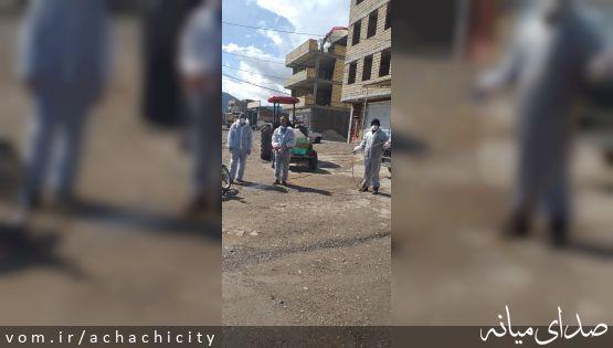 ادامه ضدعفونی معابر شهر آچاچی در روزهای تعطیل عید نوروز