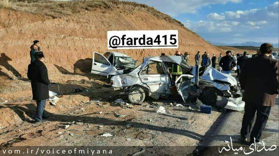 ۴ کشته و مصدوم در تصادف تیبا و پژو در جاده میانه-ترک