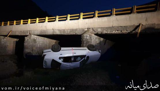 حادثه ای دیگر در جاده های میانه/ واژگونی سمند در محور میانه-تبریز