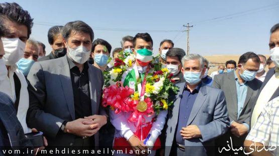 مراسم استقبال از اصغر عزیزی قهرمان پاراتکواندو پارالمپیک توکیو در زادگاهش میانه
